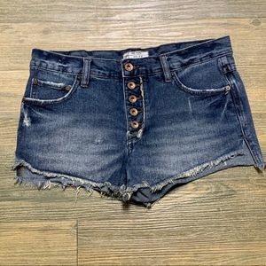 Free People Button Fly Cut Off Denim Short 27